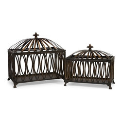 """IMAX CORPORATION - Fleur-de-Lis Boxes - Set of 2 - Eastern inspired antique bronze color metal boxes with open oval pattern. Set of 2 in various sizes measuring around 18.5"""" x 11.25"""" x 15"""" each. Shop home furnishings, decor, and accessories from Posh Urban Furnishings. Beautiful, stylish furniture and decor that will brighten your home instantly. Shop modern, traditional, vintage, and world designs."""