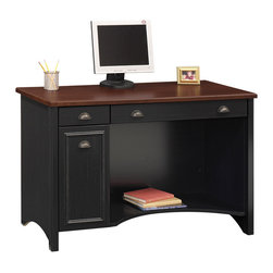 Bush - Antique Black & Cherry Stained Computer Desk - This elegant Antique Black with Cherry Stained Computer Desk crafted of particleboard with laminate displays traditional style with modern functionality.  A cleverly designed drop-down front reveals the keyboard/mouse shelf and the desk features concealed vertical CPU storage with rear wire access.  With elegant accents and a stark black finish, this computer desk can help people finish their work in style.  A drop-down shelf front adds an element of surprise, allowing users to conceal their keyboard and mouse.  Rugged  particleboard construction is augmented with laminate coating. * Computer desk set is a wonderful addition to a den or home office. Work surface is scratch and stain resistant. Antique Black w Hansen Cherry finish. . Concealed vertical CPU storage in desk . Drop-down front reveals keyboard/mouse shelf . Lateral file is same height as desk height. 47.401 in. W x 20.764 in. D x 30.724 in. H