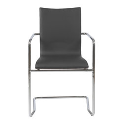 Euro Style - Euro Style Madge Arm Chair Set of 2 17228BLK - You can't get any more classic than chromed steel and black. The Madge Chair features durable chromed steel frames and black leatherette over foam for a very upmarket look. They also have a stunning walnut veneer on the back of the seat.