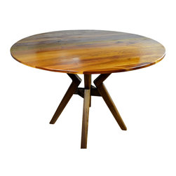 """40"""" Round Dining Table, Walnut Stand - This is a variation of the Diatom Cherry table, with a Walnut base. 40""""X27"""" with Walnut base legs, inspired by Atlas holding the planet. The legs are joined with Walnut dowels and designed with a Mid-century Modern look. The table pictured comes with the Cherry top, or can alternatively be custom-made with a round Walnut top. There are variations and sizes that can be custom ordered."""