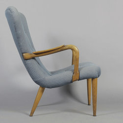 Danish Wingback Chair in Beech Wood, 1940s - Vintage 1940s Danish Armchair