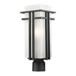 Z-Lite - Z-Lite Abbey Outdoor X-R-KB-BHP945 - The geometric lines of the Abbey family combine well with contemporary home styling as well as homes in the craftsmen style.  This large outdoor post head fixture is made of steel  and finished in black with matte opal glass.