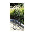 Achla - Square Frame Latticed Obelisk Trellis - Whether you need a stunning piece to wrap those luscious grape vines or a regal ornament to embellish your gardening space, enjoy this latticed obelisk trellis with a stylish square frame and majestic, graphite powder coat finish.  The square lattice obelisk provides a remarkable structure for any garden, offering its extraordinary shape both as tasteful décor and an arrangement upon which to grow vines.  Its graphite powdercoat finish brings a sense of freshness and vibrancy. * Graphite Powdercoat finish. 20 W x 67 H in.