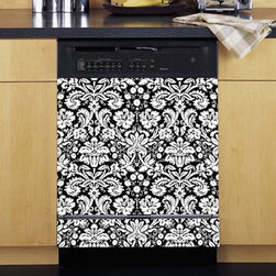 Appliance Art - Appliance Art Damask Black and White Dishwasher Cover - Add some flare to your kitchen with this sassy dishwasher cover. This unique cover will protect your dishwasher from everyday scratches, as well as update the look of your kitchen space. The vinyl cover is easy to clean with soap and water.