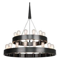 Robert Abbey - Rico Espinet Candelaria Chandelier - Medieval meets movie house? This inventive chandelier features the classic circular frame that instead of candles supports exposed bulbs, evoking the look of a vintage marquee. Your room will become … enlightened.