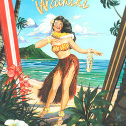Murals Your Way - Waikiki Girl Wall Art - Painted by Scott  Westmoreland, Waikiki Girl wall mural from Murals Your Way will add a distinctive touch to any room