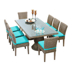 TKC - Royal Rectangular Outdoor Patio Dining Table With 8 Chairs 2 for 1 Cover Set - Features:
