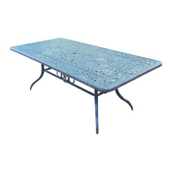 Oakland Living - Rectangular Dining Table - Includes metal hardware. Handcast. Artistic pattern work is crisp and stylish. Fade, chip and crack resistant. Umbrella hole table top. Hardened powder coat. Warranty: One year limited. Made from rust free aluminum. Aged color. Minimal assembly required. 84 in. L x 42 in. W x 29.5 in. H (97 lbs.)This table is the prefect piece for any outdoor dinner setting. Just the right size for any backyard or patio. The Oakland Belmont Collection combines practical designs and modern style giving you a rich addition to any outdoor setting.