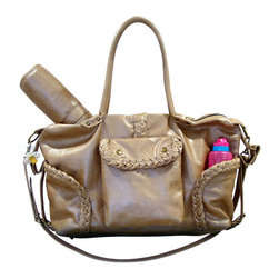 Not Rational - Kelly Leather Diaper Bag - Champagne Distressed - Kelly Diaper Bag - Champagne Distressed