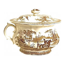 """Transferware Chamber Pot - Antique 19th c.English  transferware chamber pot, with lid. Depicting Medieval scenes on exterior and interior. Lid measures 9 1/2""""Dia x 3""""H. Lid has rose shaped handle."""