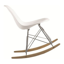 Fine Mod Imports - Rocker Side Chair - Set of 2 - Set of 2. Contemporary style. Stainless steel legs. Ash wooden rocker base. Polypropylene seat. ABS frame. Warranty: 1 year. White color. Assembly required. Seat height: 16 in.. Overall: 18 in. W x 19 in. D x 32 in. H (25 lbs.)This chair is classic mid-century piece made the classic way.