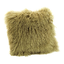 Moe's Home Collection - Moe's Home Lamb Fur Pillow in Green (Set of 2) - Soft furry decorative cushion