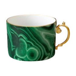 L'Objet - L'Objet Perlee Malachite Tea Cup - Inspired by the timeless elegance and enduring modernity of the pearl, Perlee is an expression of classic dinnerware. The collection is offered in solid white Limoges porcelain with meticulously hand-painted 24K gold or Platinum. Limoges Porcelain, Hand Gilded24k Gold Decorated. Made in Portugal. Dishwasher Safe on Delicate Setting. Not Microwave Safe. Dimensions: 8oz. L'Objet is best known for using ancient design techniques to create timeless, yet decidedly modern serve-ware, dishes, home decor and gifts.