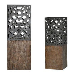 Crestview Collection - 2-Pc De Luca Candleholders Set - Candles not included. UL, CUL listed. Made from resin and metal. Distressed wood and metal color. Candleholder 1: 15.5 in. H. Candleholder 2: 19.5 in. H. Overall weight: 14.96 lbs.. Warranty