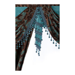 """Ulinkly.com - Luxurious window curtain - Blue Dance, 100""""*96"""", 2 Panels with Valance - This price includes 2 panels and valance, each panel is 100""""/96"""", 100% Chenille."""