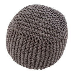 "18"" x 18"" Forda Charcoal Pouf - Tactile and playful, presenting a shape in between cubic and round to ease the monotony of purely geometric shapes, the Forda Charcoal Pouf is a transitional accessory with personality, knitted from weighty jute yarns in a dark, style-conscious grey.  This handsome piece is perfect for enhancing the functionality of a room when positioned beside an armchair, window seat, or even coffee table."