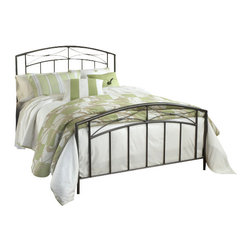 Hillsdale Furniture - Hillsdale Morris Panel Bed - Twin - A unique combination of traditional and transitional elements, Hillsdale Furniture's Morris bed marries a classic silhouette with a modern motif, straight spindles, and a gently shaped finial. Finished in a versatile sand silver, and constructed of heavy gauge tubular steel, this bed is adaptable enough for any bedroom in your home. Minor assembly required.