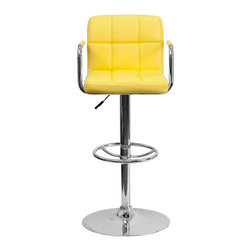 Flash Furniture - Flash Furniture Barstools Residential Barstools X-GG-LEY-920201-HC - This sleek dual purpose stool easily adjusts from counter to bar height. The simple design allows it to seamlessly accent any area in the home. Not only is this stool stylish, but very comfortable to provide you with an amazing sitting experience! The easy to clean vinyl upholstery is an added bonus when stool is used regularly. The height adjustable swivel seat adjusts from counter to bar height with the handle located below the seat. The chrome footrest supports your feet while also providing a contemporary chic design. [CH-102029-YEL-GG]
