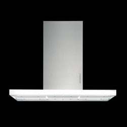 """Designer Range Hoods - """"Luxor"""" Series - The """"Luxor"""" range hood line features a unique illuminated glass body that creates a """"cloud of light"""" effect over the cooktop. Available in island and wall versions, 36-inch and 48-inch sizes. Visit www.FuturoFuturo.com for complete product information, prices, stock status, and online ordering."""