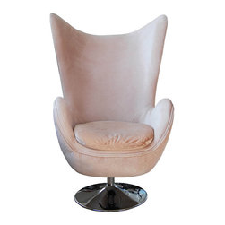 None - Egg Light Brown Fabric Armchair - This light-brown fabric armchair brings a unique sixties look to your home that guests are sure to admire. Its contoured seat will keep you comfortable, and it swivels so that you can quickly turn to face different parts of the room.