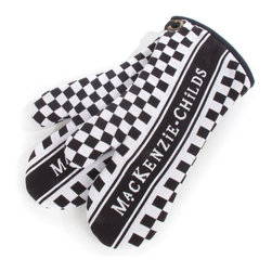 MacKenzie-Childs Oven Mitts - Black & White | MacKenzie-Childs - Now our woven dish towels have some partners. Practical, functional, and boldly colored. Sold in pairs. 100% cotton, padded for safety.