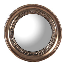 Kathy Kuo Home - Julian Antique Bronze Distressed Small Round Convex Mirror - The perfect little reflection of antique style, this small round mirror is framed in distressed bronze. With unique shadings, the finish creates one-of-a-kind variations in the circular trim. Reflective convex glass adds a sparkling sphere whether it hangs alone or clusters in your own artistic arrangement.