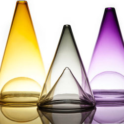 Ombre Glass Series - Set of 3 Cones - From the Ombre Series. Crafted using traditional glass blowing methods. Timeless accent for home or office. Color of glass deepens from base to top of cone, for a look that is elegant and pronounced.