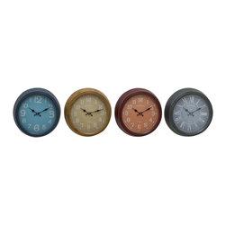 Set of Grand 4 Metal Wall Clock - Description: