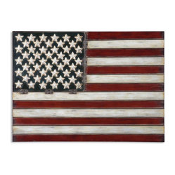 Uttermost - American Flag Metal Wall Art - This hand-forged metal American flag has an aged patina and black tipping. Ideal for your Americana or primitive collections you'll enjoy gallantly streaming your broad stripes and bright stars over a console table or in your home office.