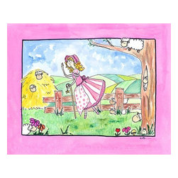 Oh How Cute Kids by Serena Bowman - Little Bo Peep, Ready To Hang Canvas Kid's Wall Decor, 11 X 14 - Little Bo Peep, this one is one of my favorites because I love sheep!  Part of my Fairy Nursery Rhymes series. I have several in the series for boy and girls!  Each are sold separately but coordinates with everything in the series for an easy fun room decor!