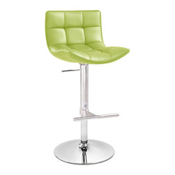 Zuri Furniture - Brut Adjustable Height Swivel Bar Stool - From its classy, modern, squared off back to its romantic custom tufting, The Brut bar stool exudes style and comfort. A gleaming chrome stem and sturdy base accents this piece perfectly as well. Available in lime,slate,black and red, The Brut is a must have for any bar.