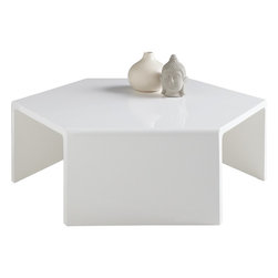 Sunpan - Osetra Coffee Table, High Gloss White - This striking over-sized high gloss white coffee table is a rare mix of an exotic form in a contemporary finish. Creates a bold presence in any modern space. No assembly required.