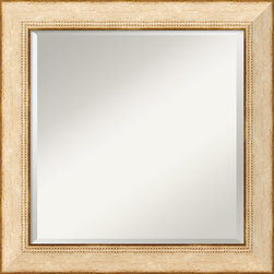 "Amanti Art - Highland Park Cream Wall Mirror - This mirror features a cream colored wooden frame with a distressed finish and an embossed nailhead pattern along the inner edge. It is 2 3/4"" wide, 3/4"" deep, and is made of wood, which is considered the finest choice in framing materials."