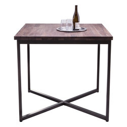 Sunpan - Porto Bar Table, Solid Distressed Walnut With Black Steel Base - This Porto bar table is beautifully crafted from solid walnut with a new distressed finish. Each one of these tables has its own distinct personality. The black steel x-base gives it modern appeal. Assembly required.