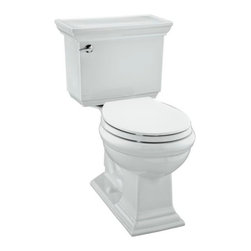 KOHLER - KOHLER Memoirs Stately Comfort Height Two-Piece Round-Front 1.28 GPF Toilet - KOHLER K-3933-0 Memoirs Stately Comfort Height Two-Piece Round-Front 1.28 gpf Toilet with Class Five Flush Technology and Left-Hand Trip Lever in White