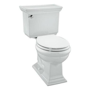 KOHLER - KOHLER Memoirs Stately Comfort Height Two-Piece Round-Front 1.28 GPF Toilet - KOHLER K-3933-0 Memoirs Stately Comfort Height Two-Piece Round-Front 1.28 gpf Toilet with Class Five Flush Technology and Left-Hand Trip Lever in White