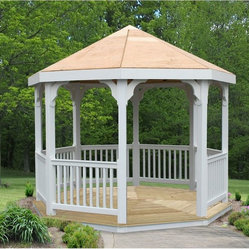 10' Vinyl Gazebo - This economy gazebo features durable and maintenance free vinyl construction and a beautiful treated pine deck.  The bare roof allows you or your customers to choose the shingles or metal roofing that suits you best.   It ships partially assembled in an easy-to-assemble kit.