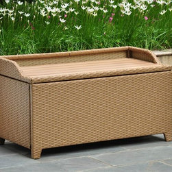 International Caravan - Outdoor Storage Bench - Seats one person comfortably. Water resistant. Durable rust free frame. Easy to open for extra storage. Made from wicker resin and aluminum frame. Honey pecan finish. Assembly required. 40 in. W x 20 in. D x 20 in. H (40 lbs.)Perfect for storing towels or garden accessories. This is a perfect outdoor decorative for any outdoor setting.