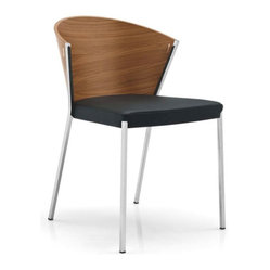 Calligaris - MYA Chair - A retro-inspired, yet fiercely modern chair, this walnut-veneer, black leather and chrome number will both harken back to days of shag carpeting and keep your space clean and contemporary. A great neutral with a lot of character.