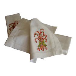"Mary Lake Thompson - Candy Cane Linen Napkins - Candy Cane Napkins are the perfect holiday treat for every dining table. Includes set of 6 hemstitched napkins. Machine wash cold in gentle cycle, do not bleach. Measures 18"" by 18"""