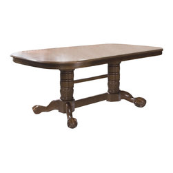 Liberty Furniture - Old World Double Pedestal Table - Chairs sold separately. Two 18 in. leaves. V-matched veneer top. Ball and claw pedestal design. Comfortably seats upto 8. Warranty: One year. Made from select hardwoods and oak veneers. Medium oak finish. Made in Malaysia. Minimum: 96 in. L x 42 in. W x 30 in. H. Maximum: 132 in. L x 42 in. W x 30 in. H (159 lbs.)