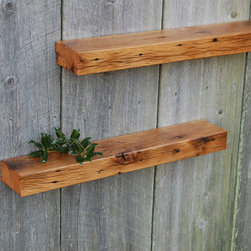 Vintage Oak Shelves - Set of two floating shelves. Made from antique white oak barn rafters salvaged from a barn built in the 1800's. Awesome grain and intense colors enhanced by years of service in the heat and cold. They go well with any decor. These shelves are protected by a light clear coat rubbed finish and have keyhole fasteners installed and are ready to hang.