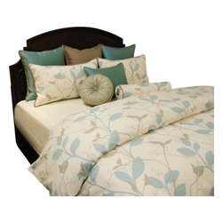 Spa Duvet Set, King - A Taupe and Aqua vine pattern on Ecru background. A Taupe and Aqua texture provides just a touch of detail to this tranquil bed set.