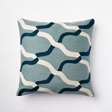 Chain Crewel Pillow Cover - Dusty Blue | west elm