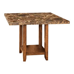 Signature Design by Ashley - Faux Marble Square Counter Height Table in Brown - Material: Vinyl (100%). Medium Brown finish. Thick profiled faux marble table top is finished with a clear polyurethane finish topcoat. Table base are constructed with select veneers and hardwood solids. Dark Brown finish on table base. Bar stools not included. Assembly Instructions. 48 in. W x 48 in. D x 36 in. H