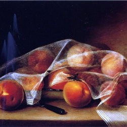 "Raphaelle Peale Fruit Piece with Peaches Covered Print - 18"" x 24"" Raphaelle Peale Fruit Piece with Peaches Covered by a Handkerchief (also known as Covered Peaches) premium archival print reproduced to meet museum quality standards. Our museum quality archival prints are produced using high-precision print technology for a more accurate reproduction printed on high quality, heavyweight matte presentation paper with fade-resistant, archival inks. Our progressive business model allows us to offer works of art to you at the best wholesale pricing, significantly less than art gallery prices, affordable to all. This line of artwork is produced with extra white border space (if you choose to have it framed, for your framer to work with to frame properly or utilize a larger mat and/or frame).  We present a comprehensive collection of exceptional art reproductions byRaphaelle Peale."