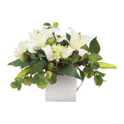 John Richard - John Richard Silver Lilies JRB-3132 - Brushed silver cube filled with white lilies, hydrangeas, peonies, and fresh green apples.