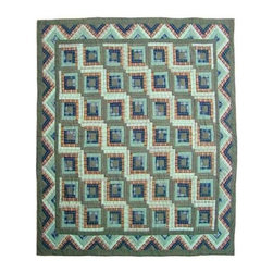 Patch Quilts - Green Log Cabin Twin Quilt - -Constructed of 100% Cotton  -Machine washable; gentle dry  -Made in India Patch Quilts - QTGLC