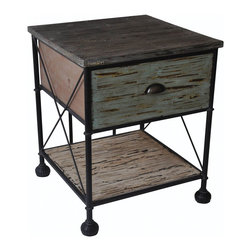 Cheung's - Home Decor Gift Wooden Side Table W/ Shelves Drawers Metal Frame And Ball Feet - Scoop Handle. Metal Legs.