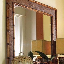 Tommy Bahama Home - Palm Grove Mirror - Can be used vertically or horizontally. Woven cane panels with bamboo border. Carved wood frame. Warranty: For casegoods one year limited and for frame limited lifetime. Made from maple veneers and select hardwood solids. Lightly distressed warm umber finish. Mirror plate: 37 in. W x 27 in. H. Overall: 47 in. W x 37 in. H (40 lbs.). Special Care Instruction from Lexington FurnitureIsland Estate lends inspiration to tropical design through a rich blending of natural materials, textures and exciting new finish colors. Designs for the whole home encompass an eclectic mix of British Plantation and refined Caribbean styling, with a playful dose of exotic island fun. Wherever the locale, Island Estate embodies a lifestyles that is elegant and refined, yet casual and cool.